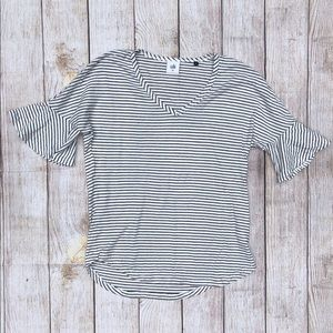 Cabi | T-Shirt | White and Black | Striped | XS
